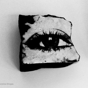 Fossil woman, self portrait: One block, black stoneware and chromo 15 x 15 cm