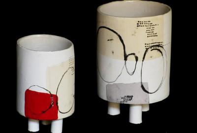 ensO : 2 cylindres H 20 cm x ø 12 cm et H 10 cm x ø 8 cm